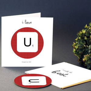 I Love You Valentines Card With Scrabble Coaster - wedding, engagement & anniversary cards
