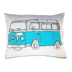 Campervan Cushion In Blue - as seen in the press