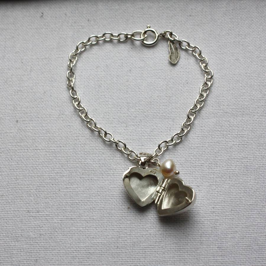 Agnes Locket Bracelet On Chain With Pearl Charm By Harry Rocks