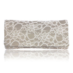 Astrid Champagne Or Silver Lace Clutch - bags