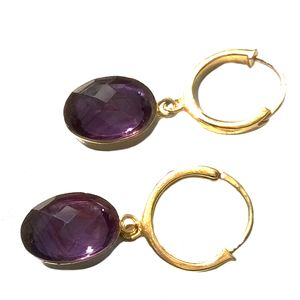Amethyst Gemstone Earrings Gold Hoop