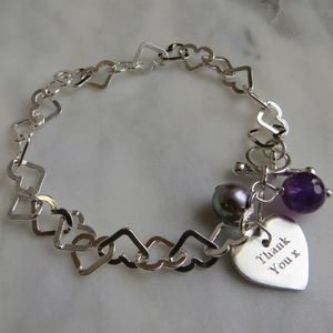 Silver Heart Chain Bracelet - gifts for her