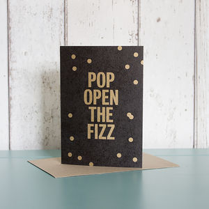 'Pop Open The Fizz' Card - anniversary cards