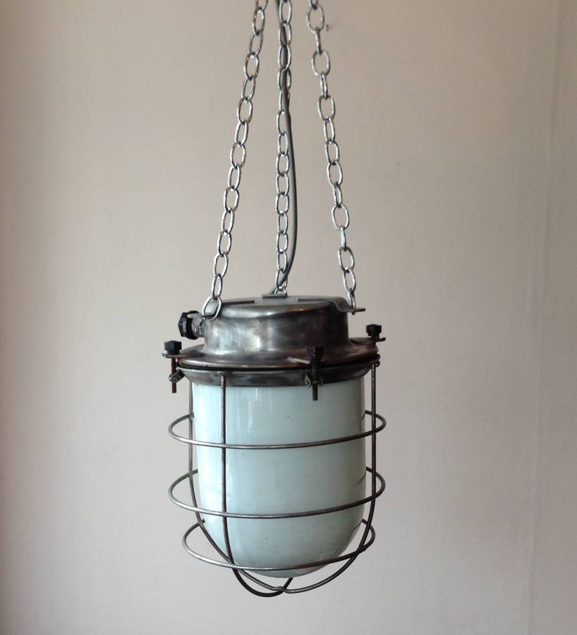 large industrial vintage cage pendant light by iamia