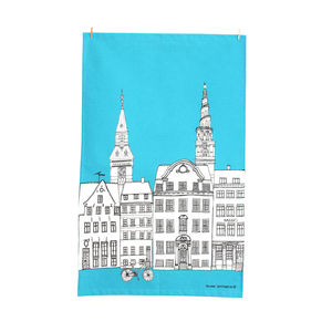 Copenhagen Cityscape Screen Printed Tea Towel - kitchen accessories