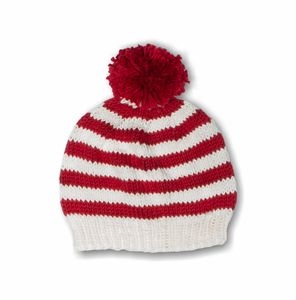 Hand Knitted Striped Beanie Hat In Red And Cream