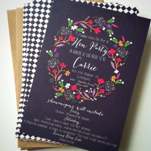 Personalised Vintage Floral Hen Party Invitations