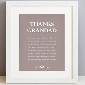 Personalised 'Thanks Grandad' Print