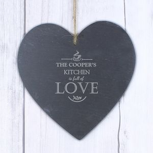 'Full Of Love' Kitchen Personalised Slate Heart