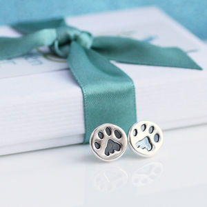 Paw Print Earrings Silver Studs - earrings