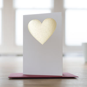 Hand Pressed Gold Love Heart Card - anniversary cards