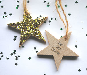 Personalised Hanging Christmas Star Decoration - tree decorations