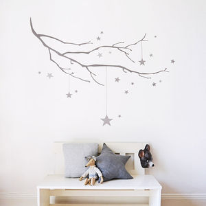 Winter Branch With Stars Fabric Wall Sticker - christmas wall stickers