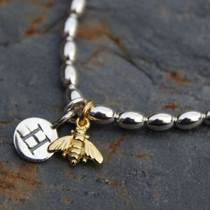 Personalised Bee Charm Silver Friendship Bracelet - bracelets & bangles