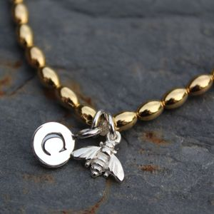 Personalised Bee Charm Gold Friendship Bracelet