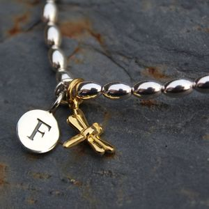 Personalised Dragonfly Charm Silver Friendship Bracelet