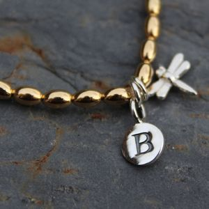 Personalised Dragonfly Charm Gold Bracelet