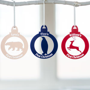 Personalised First Christmas Animal Bauble - tree decorations
