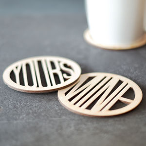 'Mine' And 'Yours' Set Of Wooden Coasters