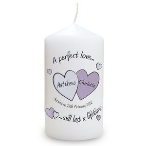 A Perfect Love Personalised Wedding Day Candle - candles & candlesticks