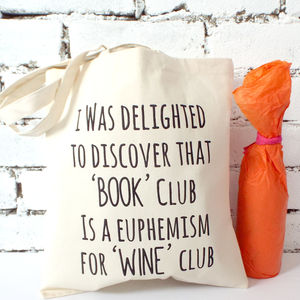 'Book Club Wine Club' Tote Bag - shoulder bags