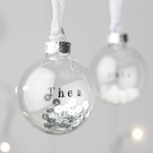 Personalised Glass Bauble With Sequins - winter wedding styling