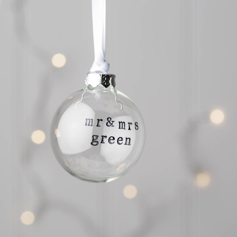 personalised mr and mrs glass christmas bauble by twenty-seven ...