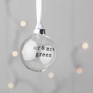 Personalised Mr And Mrs Glass Christmas Bauble - winter styling