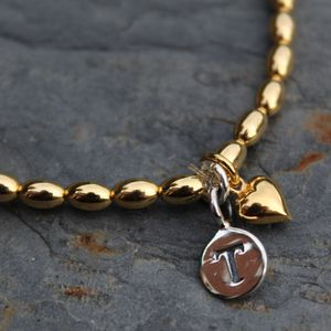 Personalised Gold Friendship Bracelet Heart Charm
