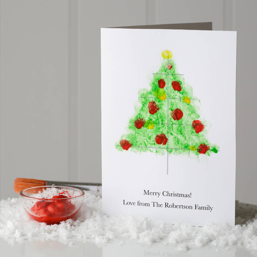 10 personalised finger paint christmas cards by twenty for Painted christmas cards