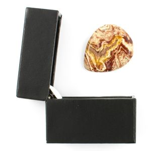 White Stripe Jasper Guitar Plectrum In A Gift Box - mens