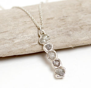Rough Diamond Bar Pendant Necklace - fine jewellery
