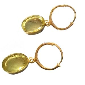 Citrine Gold Earrings Drop