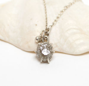 Claw Set Rough Diamond Pendant Necklace