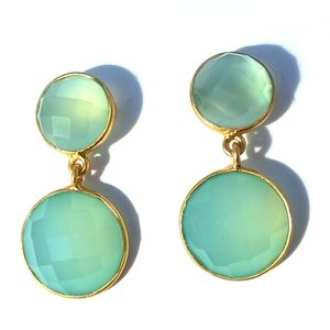 Gold Aqua Two Drop Earrings - earrings