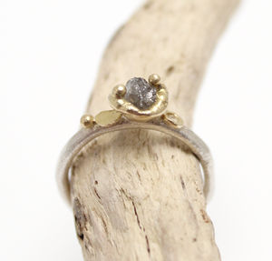 Rough Diamond Ring, Silver And Gold