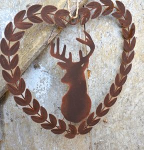 Metal Stags Head Wreath - outdoor decorations