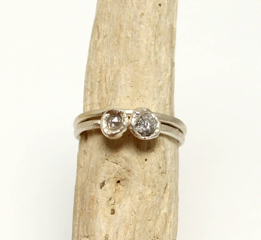 Rough And Faceted Diamond Ring, 9ct White Gold