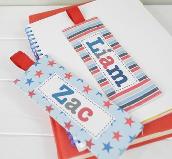 Boys Personalised Fabric Bookmarks