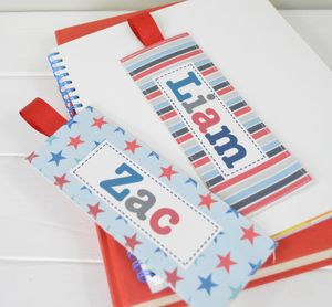 Boys Personalised Fabric Bookmarks - bookmarks