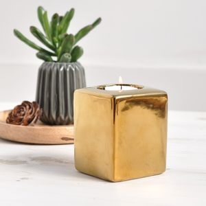 Ceramic Gold Tea Light Holder - home