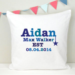 Boy's Personalised Birthday Cushion