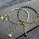 Pearl And Gold Chain Charm Bracelet