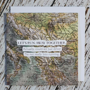 'Let's Run Away' Valentine's Vintage Map Card - wedding, engagement & anniversary cards