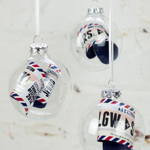 Personalised Boarding Pass Bauble
