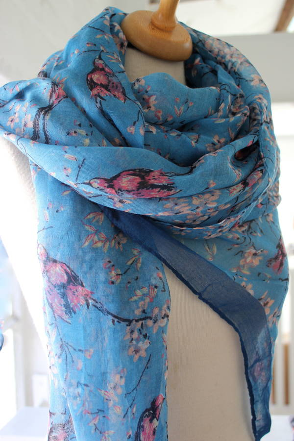 Vibrant Bird Print Scarf By The Forest amp Co