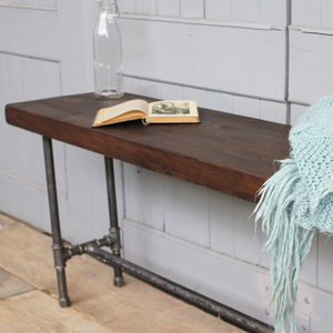 Industrial Wood And Steel Pipe Bench