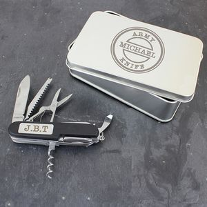 Personalised Army Pen Knife And Box Set - camping