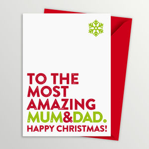Most Amazing Mum And Dad Christmas Card - christmas