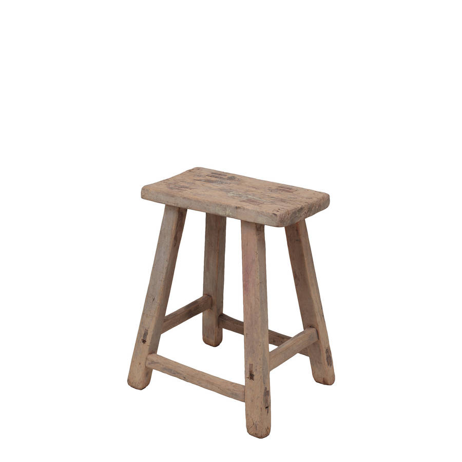 Distressed Chinese Elm Stool By Orchid